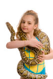 Close-up of sweet girl with pet python Royalty Free Stock Photos
