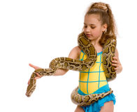 Close-up of sweet girl with pet python Stock Photos