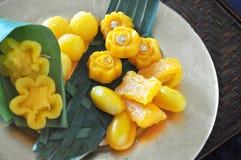 Close up Sweet Golden Thai Dessert stock image