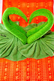 Close up sweet heart green cloth Stock Photo
