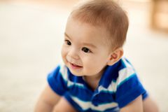 Close up of sweet little asian baby boy stock photography