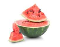 Close-up of a sweet, raw and juicy watermelon, isolated on a white background. Nutritious and organic vitamins. Summer harvest. royalty free stock photography