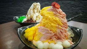 Close up sweet snow ice, Singapore dessert Stock Photos