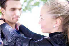 Close up Sweet Young Lovers Smiling to Each Other Royalty Free Stock Photo