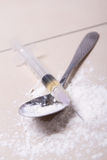 Close up of syringe with drug substance, heroin powder and spoon Royalty Free Stock Photography