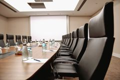 Close up table conference room interior stock photography