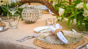 Close up of Table decoration in the Restaurant on the Beach, Bali Stock Photo