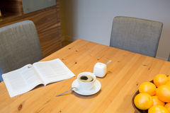 Close-up on the table in dining room Stock Photography