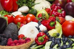 Fresh fruit and vegetables closeup. stock photography