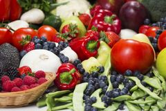 Fresh fruit and vegetables closeup. stock image