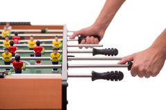 Close-up table game of soccer or foosball Royalty Free Stock Images