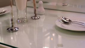 Close up of table setting for dinner in a stock footage