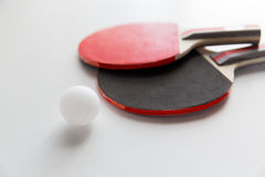 Close up of table tennis rackets with ball Royalty Free Stock Images