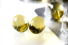 Close-up of tablet. Close up of tablet of fish oil stock image