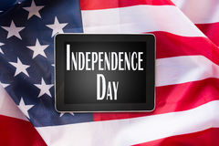 Close up of tablet pc on american independence day Stock Photo