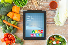 Close up of tablet pc with chart and vegetables Royalty Free Stock Image