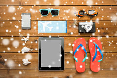 Close up of tablet pc and travel stuff Royalty Free Stock Photography
