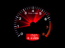 Close up of a tachometer. Or rev counter with needle motion blur Stock Image