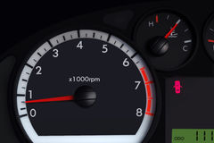 Close up tachometer needle speed. On the car dashboard Royalty Free Stock Images