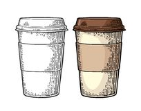 Close up take-out Coffee with cap and cup holder. Coffee with cap and cup holder. Hand drawn sketch style. Vintage color vector engraving illustration for label Royalty Free Stock Images
