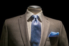 Tan Striped Jacket, Textured White Shirt, Patterned Blue Tie & H Stock Photo