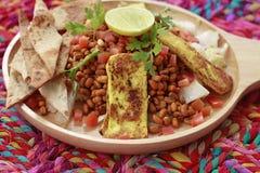 Close up of Tandoori Tadka dish, warm Tandoori tofu and lentil sprouts Stock Photography