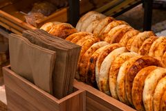 Close-up of tandyr bread cakes freshly baked appetizingly laid o stock photo