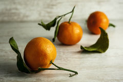 Close-up tangerines on wooden background. Close-up tangerines with leaves on wooden background Royalty Free Stock Photo