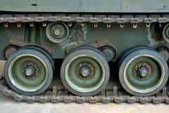 Close up tank wheels on floor Stock Photos
