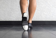 Close up of the The Tap of A Tapper. Close up of the bottom of a tap dancer& x27;s tap shoes Stock Image