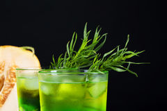 Close-up of a tarragon drink. A glass of green alcoholic lime cocktail. Cold herbal drink and sweet melon on a black background. stock photography