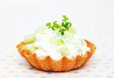 Close up tartlets filled with cream cheese Royalty Free Stock Images