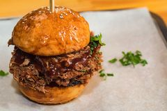 Close up tasty burger with minced meat served on tray stock image