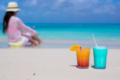 Close up tasty cocktails on beach background young Stock Image