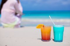 Close up tasty cocktails on beach background young Stock Images
