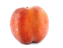 Close-up of a tasty colourful peach, on the white background. Juicy fruit, full of vitamins. Vegetarian lifestyle. A whole tasteful red peach close-up. Ripe royalty free stock images