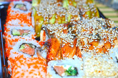 Close up of tasty fresh sushi rolls Royalty Free Stock Images