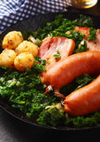 Close up Tasty German Recipe on a Frying Pan Stock Photography