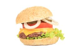 Close up of tasty hamburger. Royalty Free Stock Image