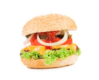 Close up of tasty hamburger. Royalty Free Stock Photos