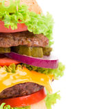 Close up of tasty hamburger. Royalty Free Stock Photography