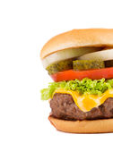 Close up of tasty hamburger. Stock Photos