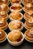 Close up of Tasty Miniature Decorative Desserts Stock Photos