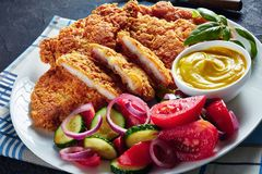 Close-up of tasty Parmesan breaded chicken fillets stock photos