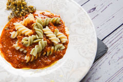 Close up of tasty pasta in white plate Royalty Free Stock Image
