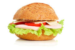 Close up of tasty sandwich with ham Royalty Free Stock Photo