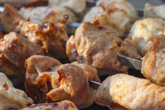 Close-up of tasty shish kebabs on skewers Stock Photos