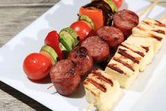 Skewers with sausage cheese and vegetables Royalty Free Stock Images