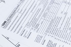 A close up of a 1040 tax form. US Individual Income Tax return form.  royalty free stock photo
