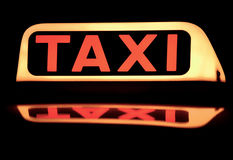Close up of a taxi sign Stock Image